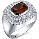 2.50 Carats Garnet Ring in Sterling Silver Rhodium Finish - 02TP25