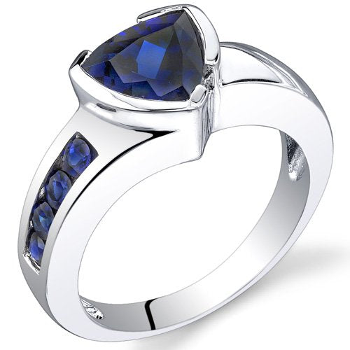 Sapphire Ring in Sterling Silver Rhodium Finish - 02TP27