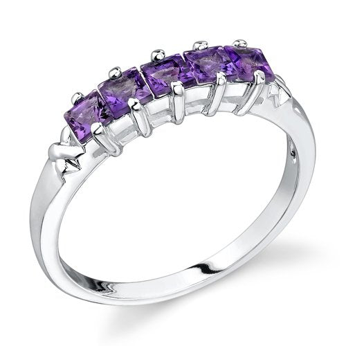 Amethyst Ring in Sterling Silver Rhodium Finish - 02TP28