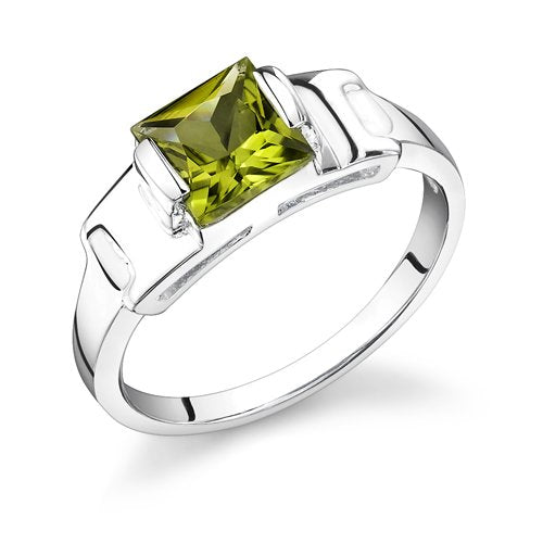 Peridot Ring in Sterling Silver Rhodium Finish - 02TP30