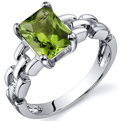 1.50 Carats Peridot Engagement Ring in Sterling Silver Rhodium Finish - 02TP31