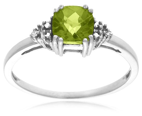 10k Gold, August Birthstone, Peridot and Diamond Ring - 02TP32
