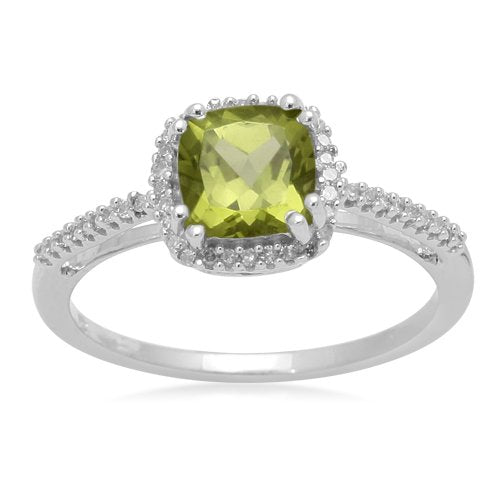 10k White Gold, August Birthstone, Peridot and Diamond Cushion Ring - 02TP33
