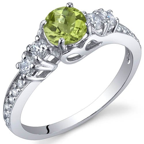 0.50 Carats Peridot Ring in Sterling Silver Rhodium Finish - 02TP34