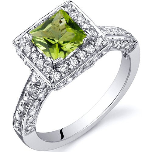 0.75 Carats Peridot Engagement Ring in Sterling Silver Rhodium Finish - 02TP35