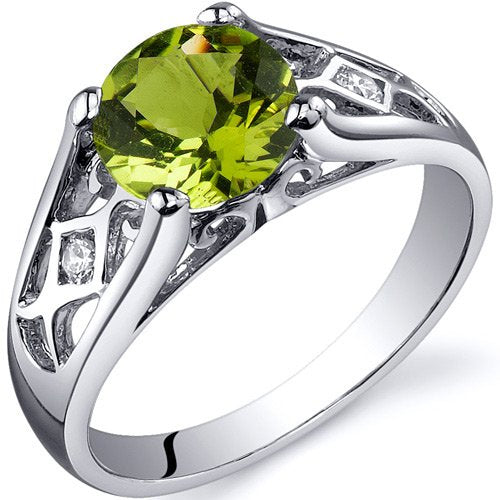 1.25 carats Peridot Solitaire Ring in Sterling Silver Rhodium Finish - 02TP36