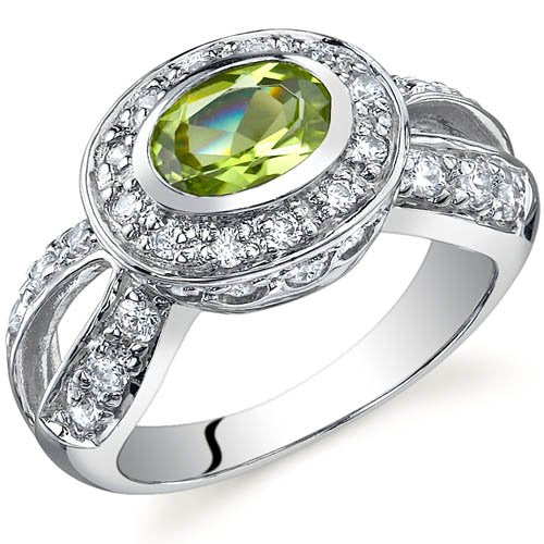 0.75 carats Peridot Ring in Sterling Silver Rhodium Finish  - 02TP37