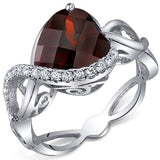 4.00 Carats Heart Shape Garnet Ring in Sterling Silver Rhodium Finish - 02TP41