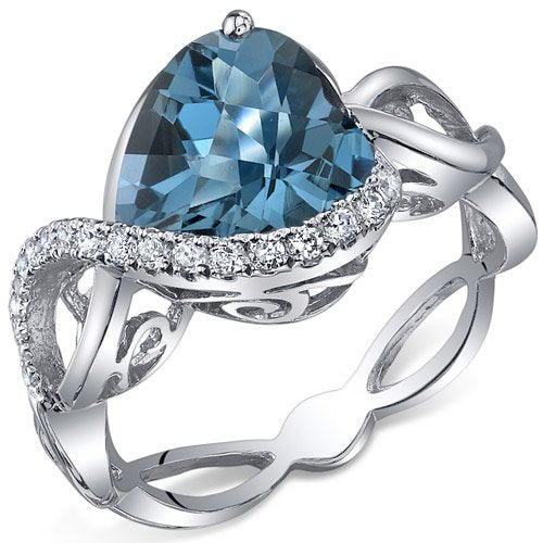 Topaz Ring in Sterling Silver Rhodium Finish - 02TP42