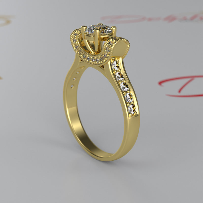 1ct Certified Diamond Gold Engagement Ring - 02TT46