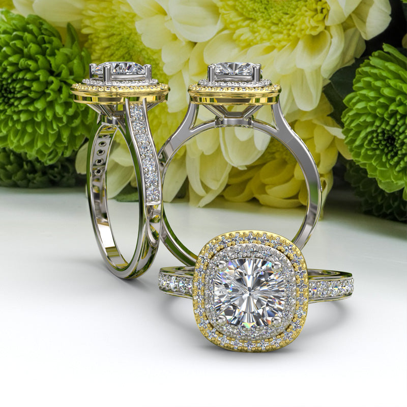 18K TWO TONE ENGAGEMENT RING - 02TX27