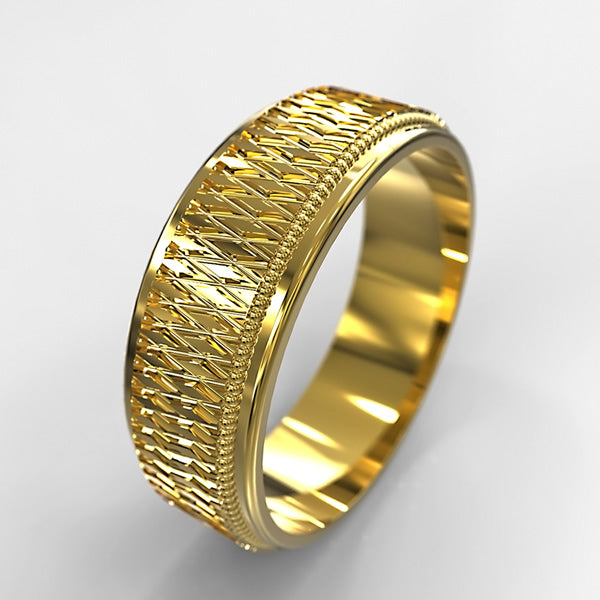 Grooms Gold Wedding Band - 02TX34