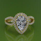 1.38ct Pear Cut Diamond Halo Gold Engagement Ring - 02US02