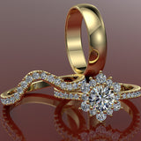 Gold Complete Wedding Set 1.03ct Round Diamond - 02US04A