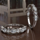 Milgrain Marquise and Dot Diamond Eternity Ring