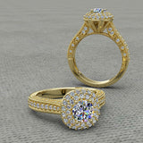 1.0 CARAT ROUND CUT DOUBLE HALO ENGAGEMENT RING - 02US07