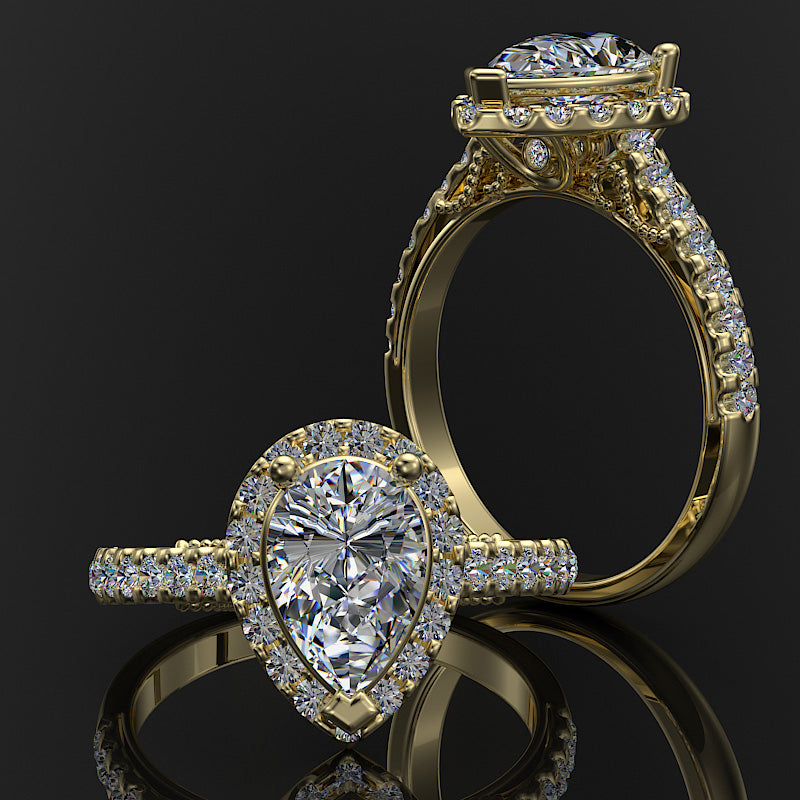Gold Pave Halo and Shank 1.5 Carat Diamond Engagement Ring (Pear Centre) - 02US08