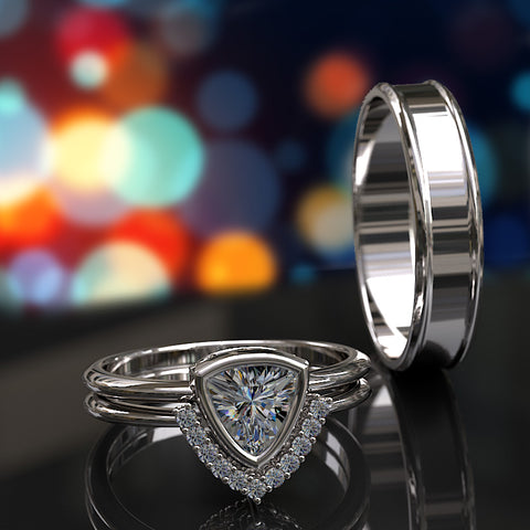Trillion Bezel Set Diamond Complete Wedding Set - 02US09
