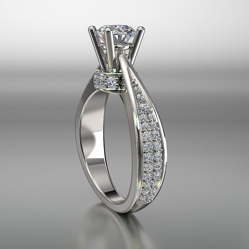 Petite Pave 1.1 Carat Diamond Solitaire Engagement Ring - 02US11