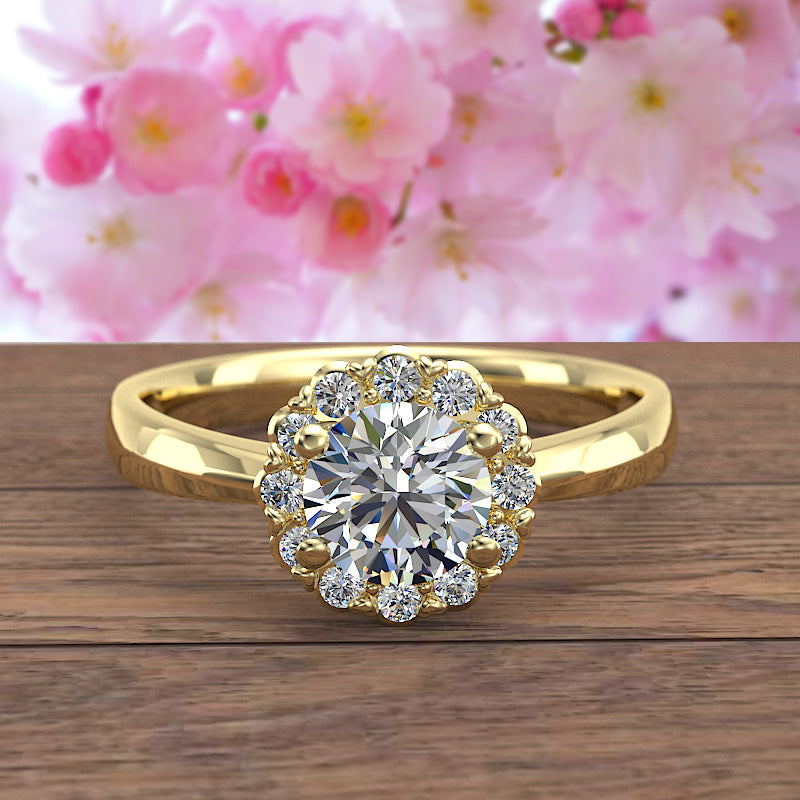 Floral Halo Diamond Engagement Ring in Gold (0.66 ct. tw.) - 02US13