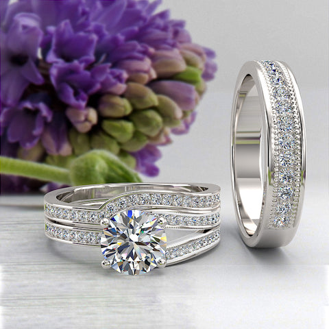 1.37ct Brilliant Diamond Complete Trio Wedding Set - 02US16A