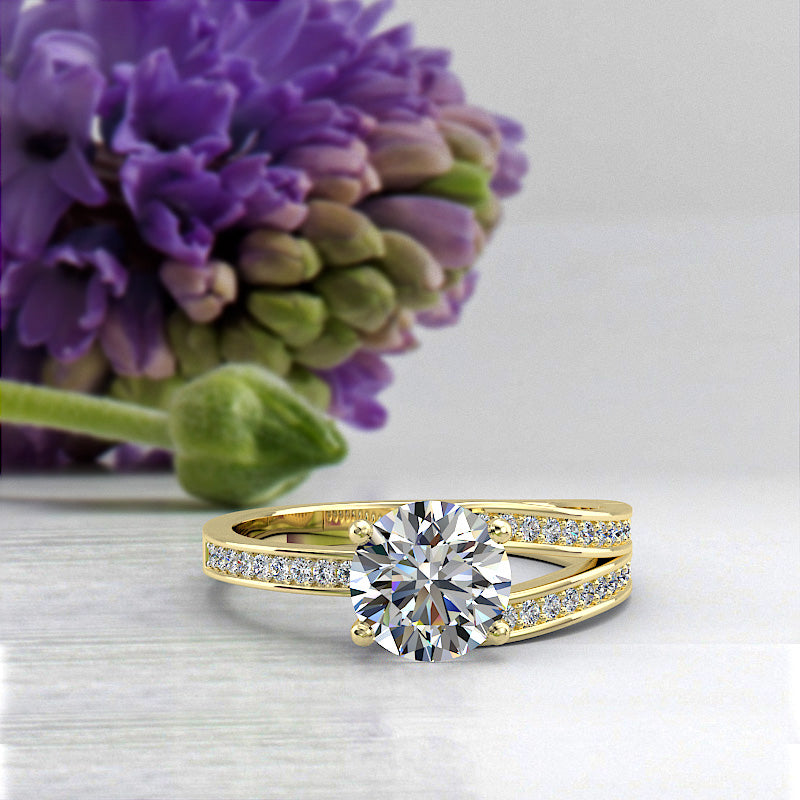 1.13ct Brilliant Diamond Gold Engagement Ring - 02US16C