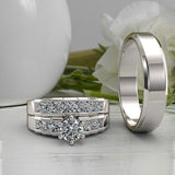 1.37ct Brilliant Diamond Trio Complete Wedding Set - 02US17A