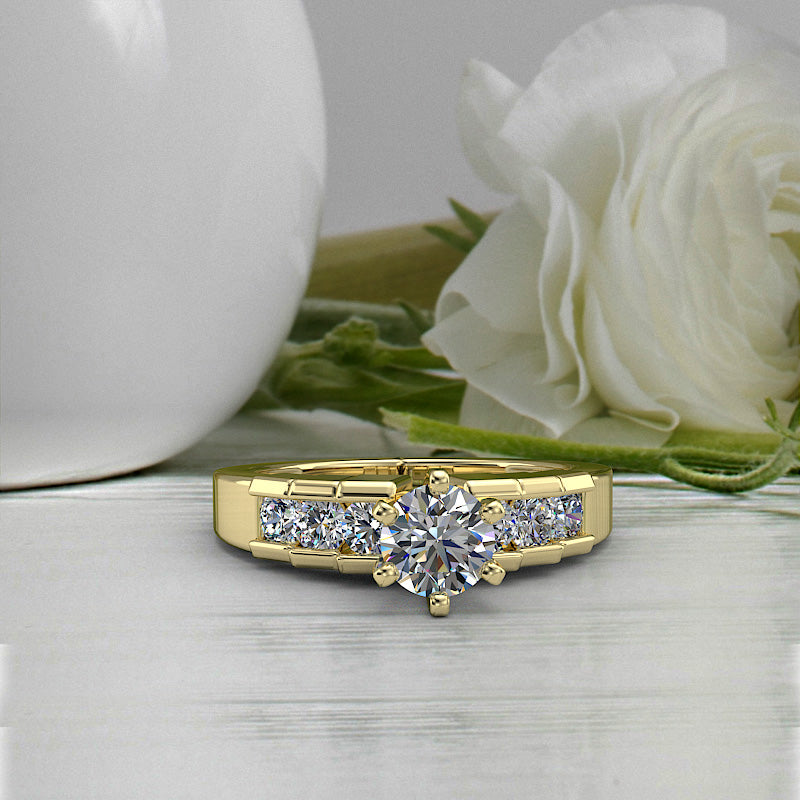 0.86ct Brilliant Diamond Gold Engagement Ring - 02US17C