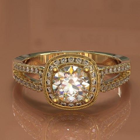 Classic Gold Split Shank Diamond Engagement Ring 1.13ct tw - 02US21