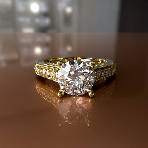 1ct Brilliant Diamond Gold Engagement Ring - 02US23