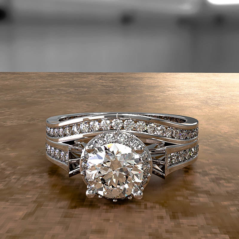 Bridal Antique 0.98ct Round Diamond Gold Solitaire Wedding Set - 02US24