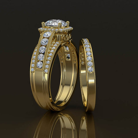 Bridal Set Halo Engagement Ring in 1.3ct Round Diamond - 02US25B