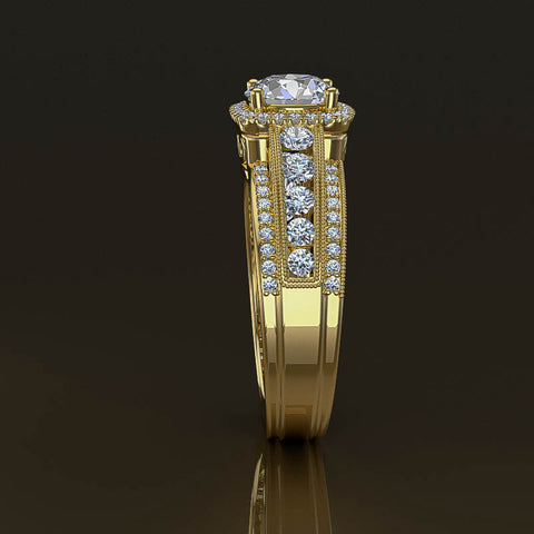 Gold Halo Engagement Ring in 1.2ct Round Diamond - 02US25C