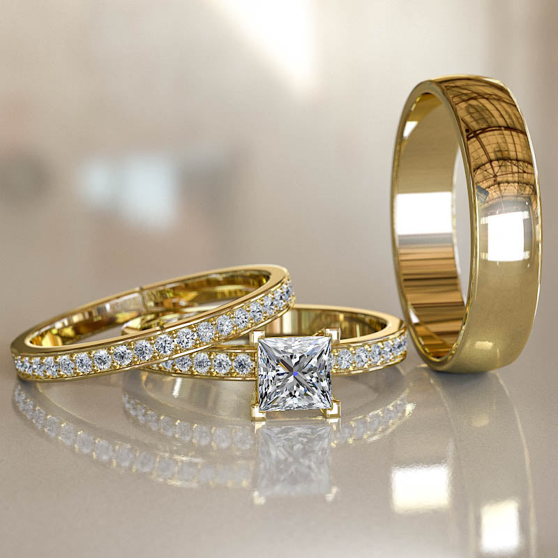 1ct Princess Cut Diamond Gold Trio Wedding Set - 02US33A