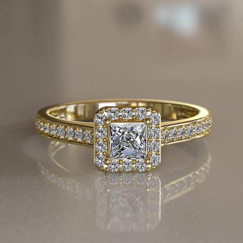 Classic 0.58ct Princess Cut Diamond Halo Gold Engagement Ring - 02US35