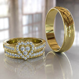 Trio 0.35ct Diamond Heart Halo Gold Complete Wedding Set - 02US37A