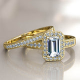 1.6ct Baguette Diamond Gold Halo Bridal Set -  02US38