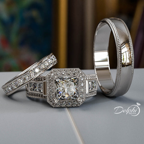 3.6 Princess Cut Diamond Complete Wedding Set - 02US49R