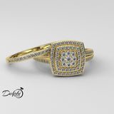 Double Halo Pave 0.55ct Diamond Gold Bridal Set - 02US52