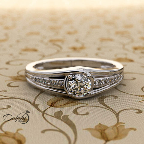 0.3ct Round Diamond Gold Engagement Ring - 02US53
