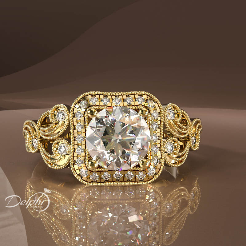 0.91ct Diamond Vintage Filigree Gold Engagement Ring - 02US56