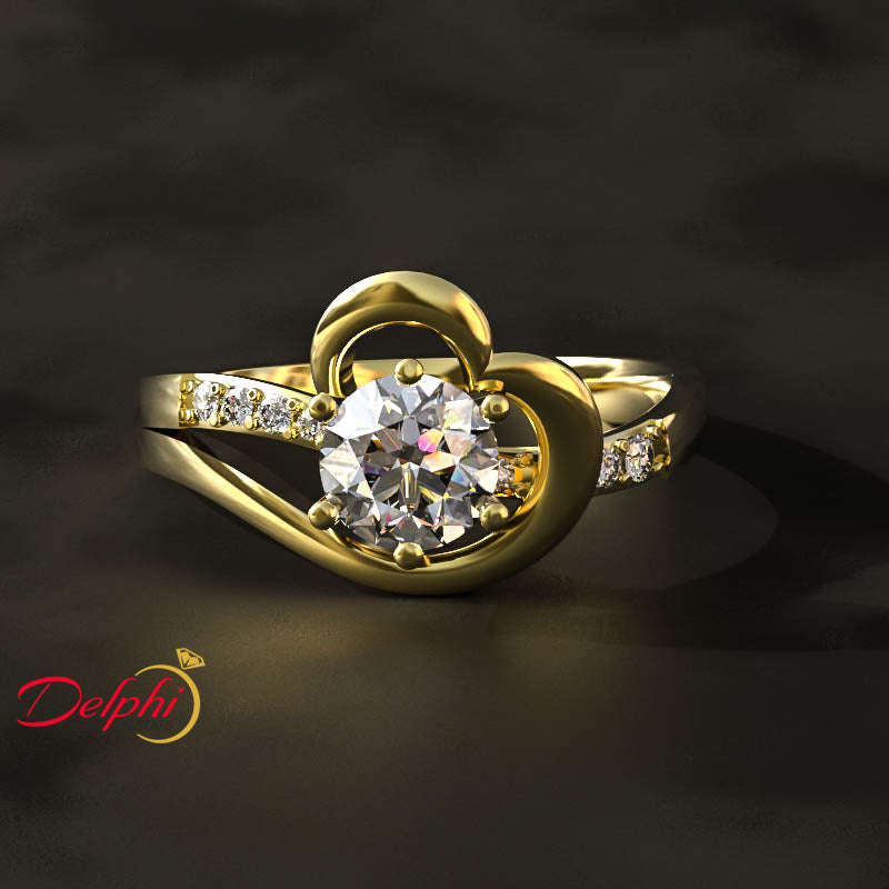 0.56ct Round Cut Heart Engagement Ring - 02US59