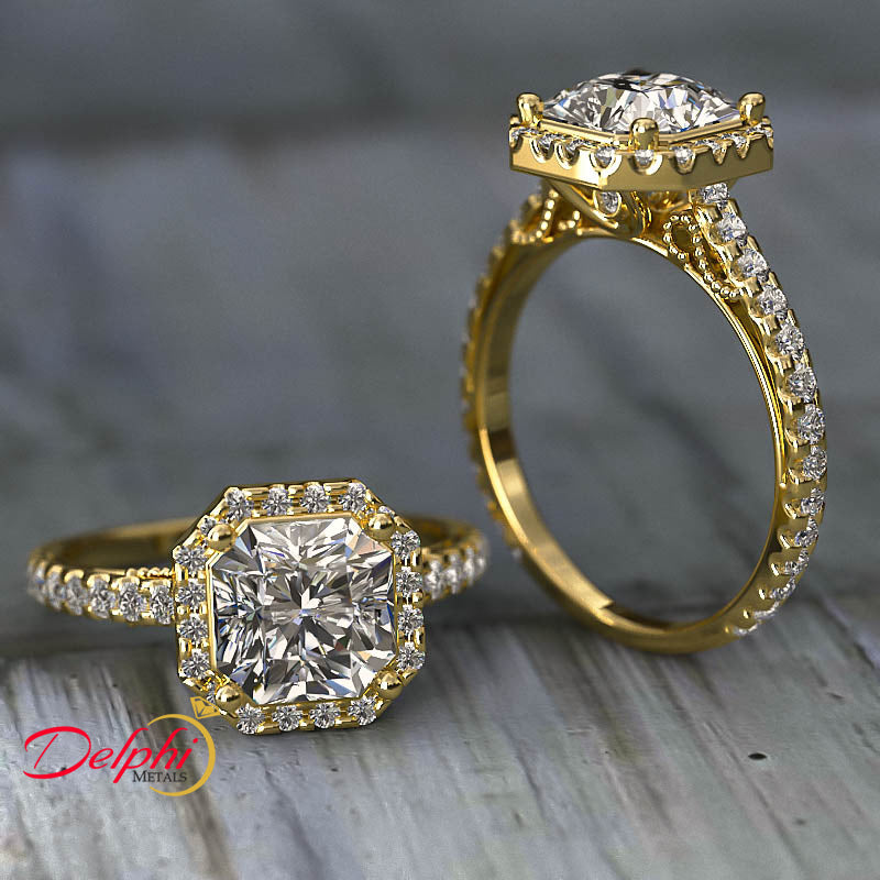 Gold Pave Halo and Shank 2.74 Carat Diamond Engagement Ring (Radiant Centre) - 02US61