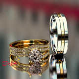 1.54ct Round Gold Two tone Gold Trio Wedding Set - 02US66