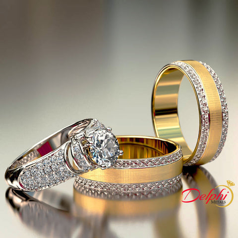 1.53ct Gold Complete Two tone Satin Gold Complete Wedding Set - 02US68