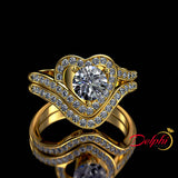1.23ct Brilliant Cut Heart Shape Gold Bridal Set - 02US70