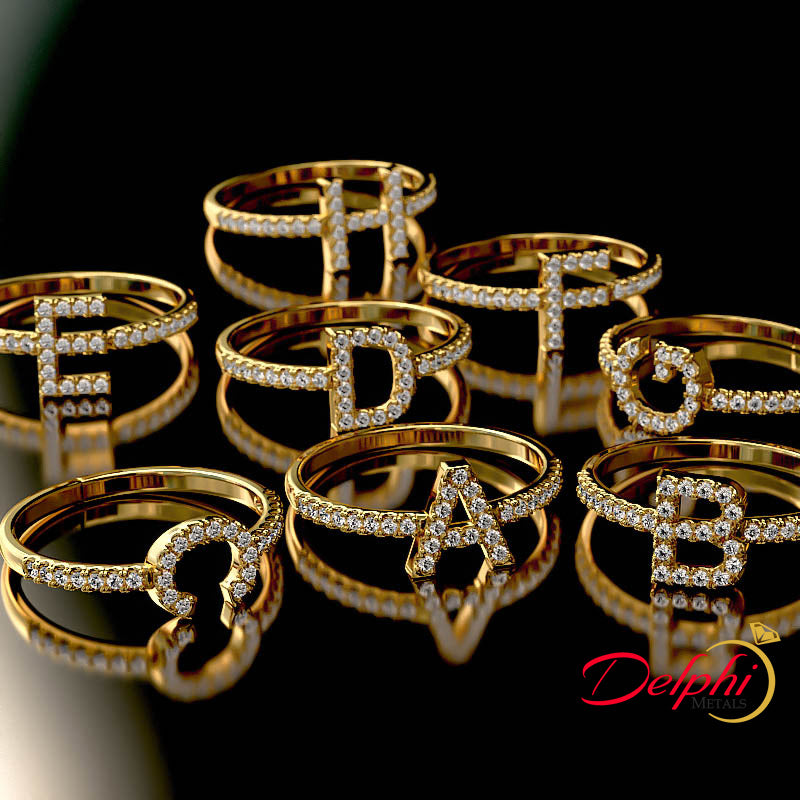 First Letter Gold Fashion Ring - 02US72
