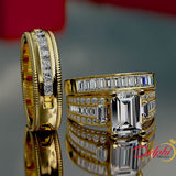 Gold Baguette Trio Complete Wedding Set - 02US81