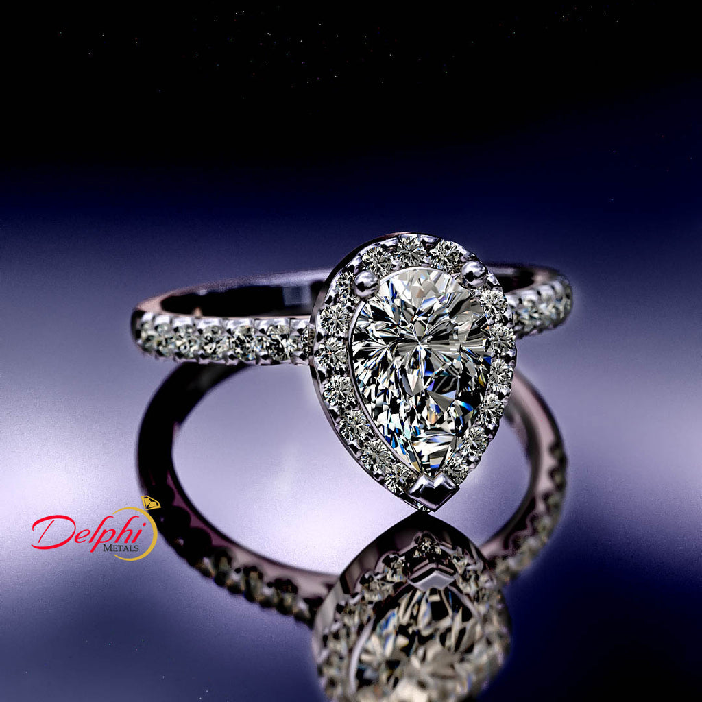 1.60ct Pear Diamond Gold Engagement Ring - 02US93