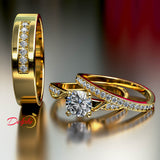1.1ct Brilliant Diamond Complete Trio Gold Wedding Set - 02US96